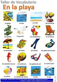 Beach in Spanish -la playa- vocabulary A2 - Learn Spanish Online