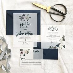 Julia Wedding Invitation Suite // Watercolor Florals on Vellum