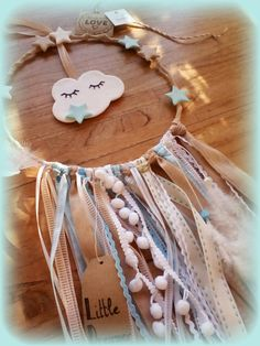 Items similar to Dream Catcher Wall art for a baby boy on Etsy Crafts To Sell, Fun Crafts, Diy And Crafts, Crafts For Kids, Arts And Crafts, Dream Catcher Art, Cotton Decor, Dream Baby, Felt Decorations