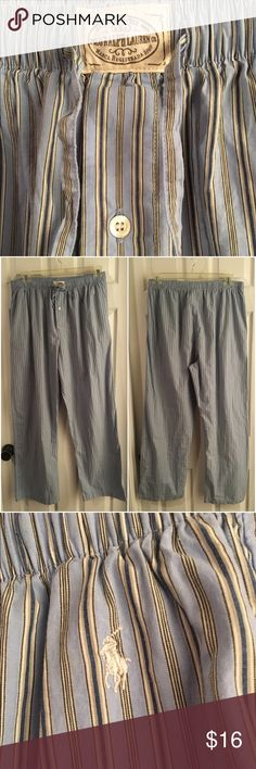 """MENS 💙 POLO Ralph Lauren Cotton PJ Pants Bottoms 100% cotton PJ sleep pants by POLO Ralph Lauren. Size LARGE. Waist is drawstring and elastic, and measures 34"""" UNSTRETCHED. Inseam is 29"""". Has two front side pockets and a single button fly. Lovely light blue striped pattern. Excellent condition - no flaws to note. Polo by Ralph Lauren Pants"""