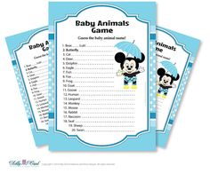 Boy Mickey Mouse Baby Animal Game guess by adlyowlpartyprints