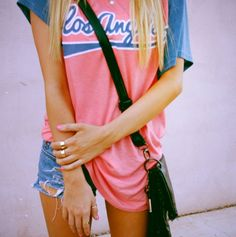 casual cute summer outfit equals oversized baseball tee   cut off shorts find more women fashion ideas on www.misspool.com