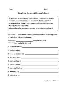 dependent and independent clauses worksheet board pinterest worksheets. Black Bedroom Furniture Sets. Home Design Ideas