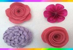 Flores🌸 Flores con fieltro🌸 como hacer una rosa 🌸flowers - Fleurs Diy Crafts For Gifts, Felt Crafts, Fabric Crafts, Felt Flowers, Diy Flowers, Paper Flowers, Paper Flower Patterns, Baby Hair Bands, Rose Crafts