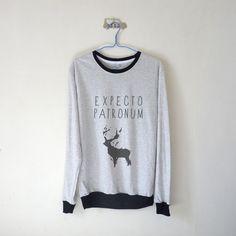 Expecto Patronum Sweatshirt $15.99 ; Harry Potter Sweater ; Clothing ; Graphic Tees ; Deer Patronus Spirit Guardian ; #HarryPotter #Geek Shop more items at http://kissmebangbang.com/product-category/harry-potter/
