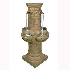 Sunnydaze Old World Roman Water Fountain with LED Lights 39 Inch Tall *** More info could be found at the image url.