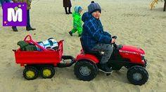 Трактор большой педальный распаковка игрушки сборка и тест драйв Roller Toys unboxing toy machine - YouTube
