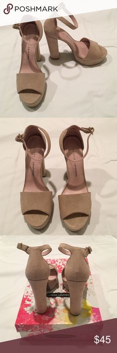 Chinese Laundry Avenue Platform Sandal Pump Nude These have been worn once. They are size 7.5. They are nude suede. Chinese Laundry Shoes Heels