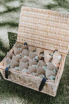 Hamper Basket Confetti Cones Trevenna Barns Wedding Wild Tide Creative #Hamper #Basket #Confetti #ConfettiCones #WeddingConfetti #Wedding