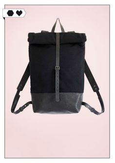 Backpack Black /Eve and Adis): Schwarzer verstärkter Baumwollcanvas, schwarzes vegetabil gegerbtes Bio-Echtleder. Maße: 55 x 35 x 20 cm ECO/SOCIAL/*189€*
