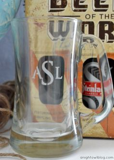 DIY Monogram Beer Mug   #monogram #fathersday #gift