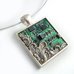 Victorian Circuit Board Necklace - Industrial Techno Geek Steampunk Handmade Jewelry. $48.00, via Etsy.
