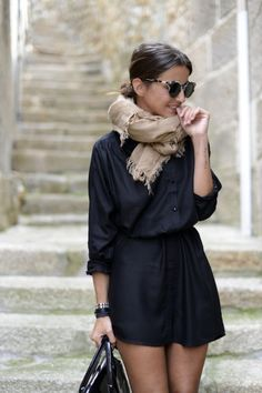 Love this outfit. Black shirt dress with camel pashmina scarf!! Perfect for fall