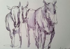 Nancy Winship Miliken: Blind contour drawings of horses