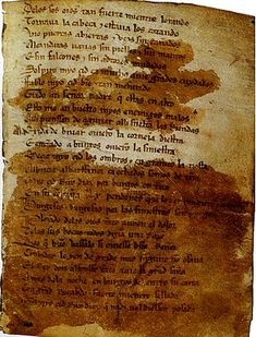 A page of 'Cantar de Mio Cid', the oldest preserved Spanish epic poem, in medieval Spanish. Spanish Heritage, Ap Spanish, Learning Spanish, Popular Poems, Heart Echo, Ap Exams, History Images, Hispanic Culture, Late Middle Ages