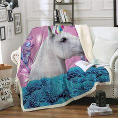 Unicorn Galaxy 58 x 80 Decor Coner Fantasy Unicorn Galaxy Blanket Luxury Plush Super Soft Comfort Warm Fuzzy Printed Bed Blanket for Bed and Sofa