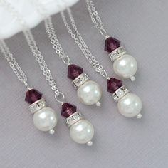 Plum Necklaces  Swarovski White Pearl and Purple (Amethyst) Crystal Bridesmaid Necklace, Flower Girl Necklace, Plum Bridesmaid Jewelry