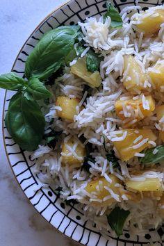 Vegan Pineapple Basil Basmati Rice Recipe #Vegan #Vegetarian #basmatirice #PineappleRice