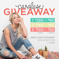 Enter to #win $250 cash and $50 gift card to Caralase in the #giveaway from Jane.com #sweepstakes ends 6/19/16