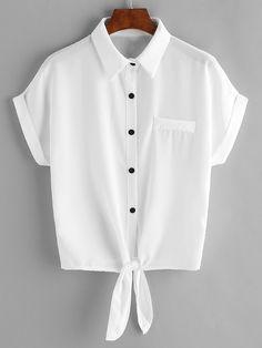 Blusa de chifón con cordón en la parte delantera con bolsillo en el pecho - blanco-Spanish SheIn(Sheinside)