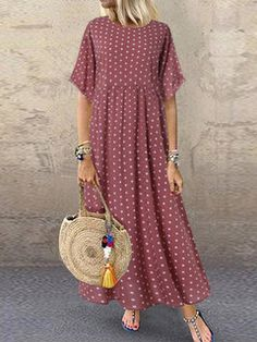 I found this amazing Polka Dot Print Short Sleeve Plus Size Maxi Dress with Pockets with 14 days return or refund guarantee protect to us. Maxi Dress With Sleeves, Short Sleeve Dresses, Long Sleeve, Maxi Robes, Vestidos Vintage, Plus Size Maxi Dresses, Dresses Dresses, Trendy Dresses, Fall Dresses