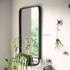 Ib Laursen Black Wall Mirror - Metal with Shelf Wall Mirrors Metal, Bathroom Mirror With Shelf, Mirror Wall Clock, Black Wall Mirror, Mirror Mirror, Skeleton Wall Clock, Industrial Mirrors, Wardrobe Room, Victorian Bathroom
