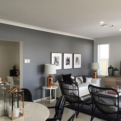 Paint grey feature wall paint ideas living room cant wait to see this colou Feature Wall Living Room, Living Room Green, Living Room Paint, Home Living Room, Living Room Designs, Living Room Decor, Living Spaces, Dulux Feature Wall, Kitchen Feature Wall