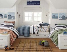 I love the Pottery Barn Kids Hip Boy Bedroom on potterybarnkids.com. Can we fit four beds???
