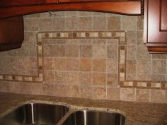 Backsplash Designs For Kitchens subway tiles with mosaic accents |  backsplash with tumbled