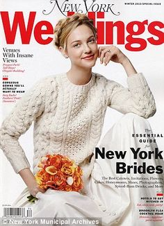 Classically cozy: Far from frumpy, the perennially classic thrown-on knits are injecting effortless elegance back into weddings, as seen on the 2012 issue of New York Weddings (pictured)