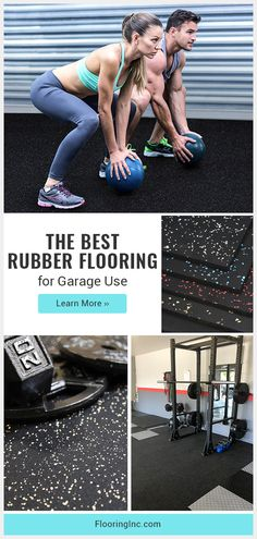 Turn your garage into the home gym of your dreams with sleek rubber flooring! This guide has everything you need to know to find rubber flooring that's meant for garage use. Rubber Garage Flooring, Vinyl Garage Flooring, Home Gym Flooring, Diy Flooring, Flooring Ideas, Bathroom Flooring, Home Gym Garage, Diy Garage, Dream Garage