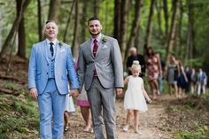 Each groom has a totally different style, but their pocket squares and boutonnieres match | Rustic Catskills Wedding in the Woods at Spillian, A Place to Revel