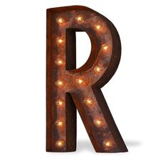 """12"""" Letter R Lighted Vintage Marquee Letters (Modern Font/Rustic)"""
