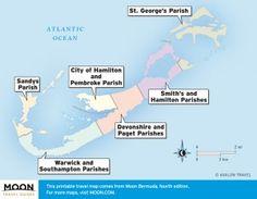 Travel maps of Bermuda by region.