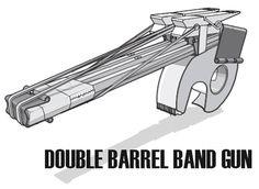 Double Barrel Rubber Band Gun made from office supplies. Large Rubber Bands, Rubber Band Gun, Mini Office, Cool Office, Wholesale Office Supplies, Fun Crafts, Diy And Crafts, Double Barrel, Office Supply Organization