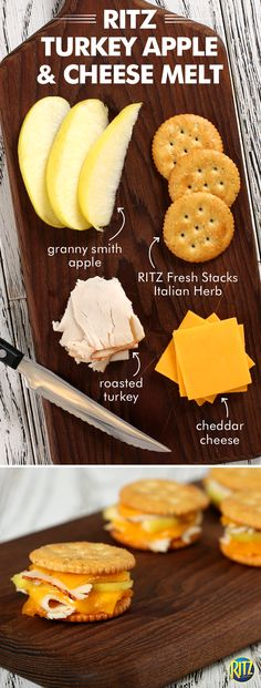 RITZ cracker melts are ideal for easy afternoon snacks to hold the kids (and you!) over until dinner. These RITZ cracker Turkey Apple and Cheese melts are simply delicious! Just top each cracker with one piece each of cheese and turkey. Cover with apples and top with another piece of turkey and cheese. Heat in the oven until cheese melts then top with another cracker. What a great treat to celebrate the warmer spring weather!