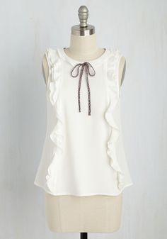 I Propose Emotion Top - White, Solid, Ruffles, Work, Darling, Sleeveless, Woven, Better, Scoop, Mid-length, 70s