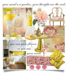"""""""Pretty In Pink & Yellow"""" by feileastram ❤ liked on Polyvore featuring interior, interiors, interior design, home, home decor, interior decorating, EORC, Cal Lighting, Dyberg Larsen and Tom Dixon"""