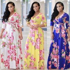 Women Floral Boho Long Maxi Dress Evening Cocktail Party Beach Dresses Sundress