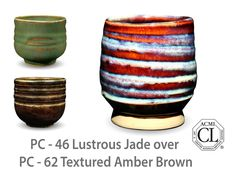 AMACO Potter's Choice layered glazes PC-62 Textured Amber Brown and PC-46 Lustrous Jade.