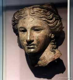 Head from a bronze cult statue of Anahita, a local goddess shown here in the guise of Aphrodite, 200-100 BC. Found at Satala in NE Asia Minor (Armenia Minor). British Museum, London.