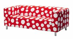 polka dot sofa in red color