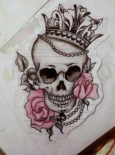 Image uploaded by ι∂σит¢αяє_. Pretty Skull Tattoos, Skull Rose Tattoos, Skull Girl Tattoo, Dope Tattoos, Tribal Tattoos, Tattoos For Guys, Star Tattoos, Wing Tattoos, Key Tattoos