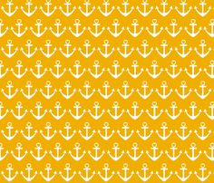 Heart Anchor Yellow fabric by poofhawk on Spoonflower - custom fabric