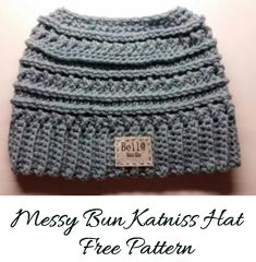 Free Messy Bun Katniss Pattern by Bella Haken & Zoo   Katniss crochet messy bun Katniss crochet pattern- katniss crochet hat