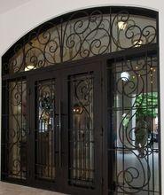 Wrought iron entry door, Wrought iron entry door direct from Xiamen Feelyiron Artwork Co. in China (Mainland) Grill Door Design, Door Gate Design, Main Door Design, Front Door Design, Iron Front Door, Modern Front Door, House Front Door, Glass Front Door, Glass Doors