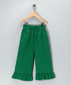 Only $14.99 !! Green Corduroy Ruffle Pants - Infant, Toddler & Girls by Bellinni by Bebe Bella Designs on #zulily today!