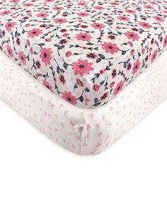 Loving this Pink & White Botanical Fitted Crib Sheet Set on #zulily! #zulilyfinds