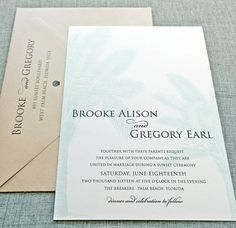 Brooke Teal Palm Tree Wedding Invitation Sample by CricketPrinting