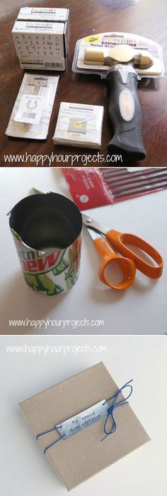 Pressed Gift Tags Made from Aluminum Cans | 51 Seriously Adorable Gift Tag Ideas
